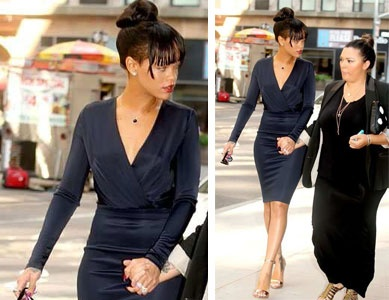look du jour rihanna tr s classique new york city. Black Bedroom Furniture Sets. Home Design Ideas
